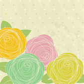Vintage greeting card with hand rose flowers on polka dot background — Stock Photo