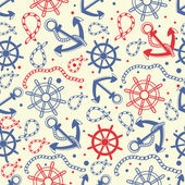 Marine seamless background with anchor, ropes, wheel, marine knots. — Stockfoto