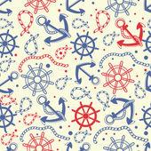 Mořské bezešvé pozadí s kotva, lana, kolo, námořní uzly. — Stock fotografie