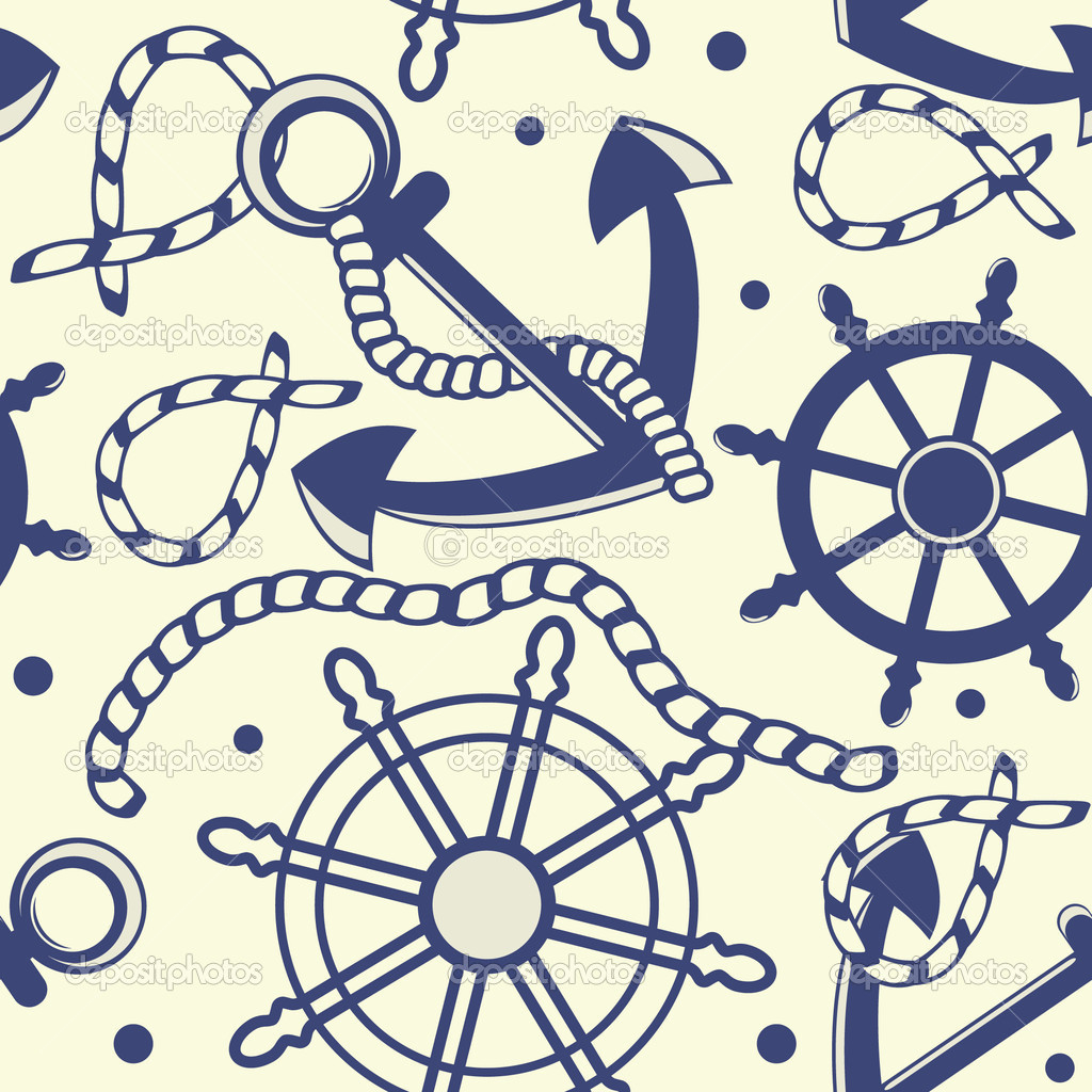 Anchor Wheel Drawing With Anchor Ropes Wheel