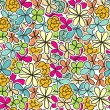 Seamless pattern with pastel flowers - Stok Vektör