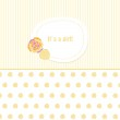 Vintage baby girl arrival announcement card. — Stock Vector
