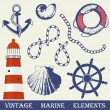 Stock Vector: Vintage marine elements set. Includes anchor, rope, wheel, lighthouse and shells.
