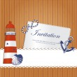 Vintage marine background with lighthouse, anchor shell and rope on wooden wall - Stok Vektör