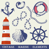 Vintage marine elements set. Includes anchor, rope, wheel, lighthouse and shells. — Stock vektor