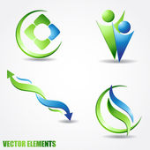 Vector iconen in blauwe en groene kleuren — Stockvector