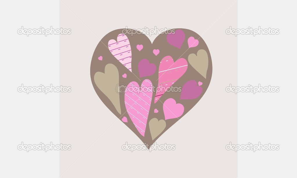 Cute vector background with vintage hearts — Stock Vector #7998385