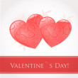 Vintage card with valentines hearts — Stock Vector #8633825