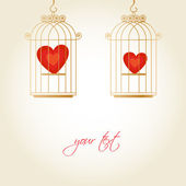 Hearts in the cages, template for valentines day — Stock Vector