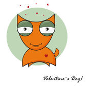 Cute fox with heart. Vector valentines card in retro style — Stock Vector