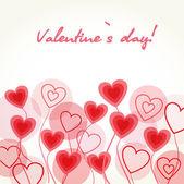 Vintage card with valentines hearts — Cтоковый вектор
