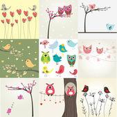 Set de 9 tarjetas de san valentín con pájaros lindos — Vector de stock
