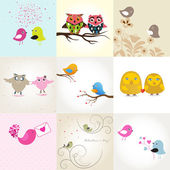 Set of 9 valentines cards with cute birds — Stock vektor