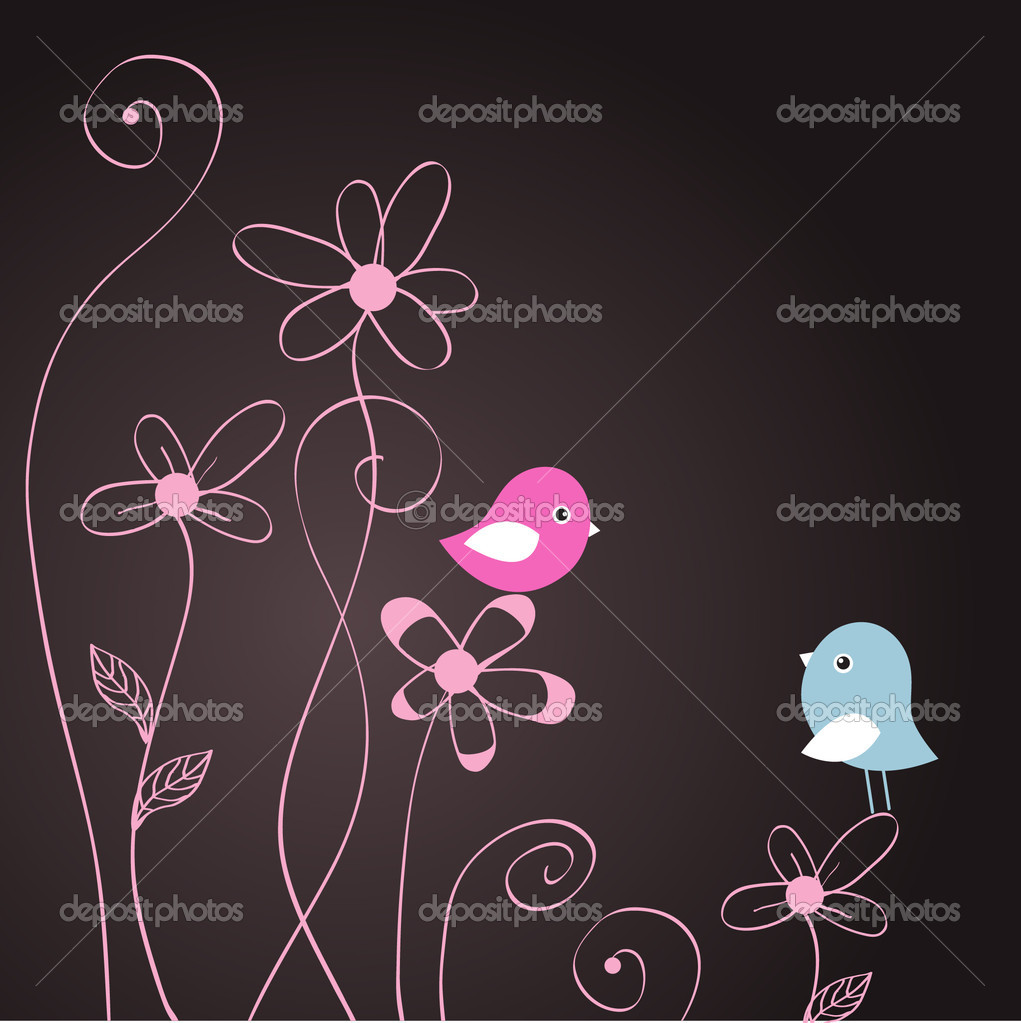 Two cute birds on the tree branches — Imagens vectoriais em stock #8633750