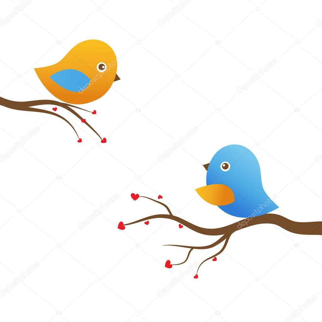 Two cute birds on the tree branches — Vektorgrafik #8633765