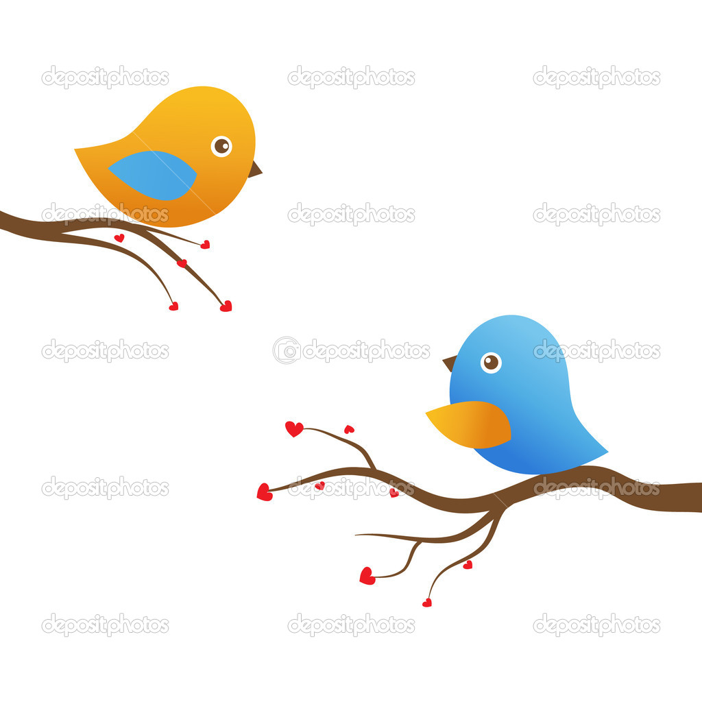 Two cute birds on the tree branches — Stock vektor #8633765