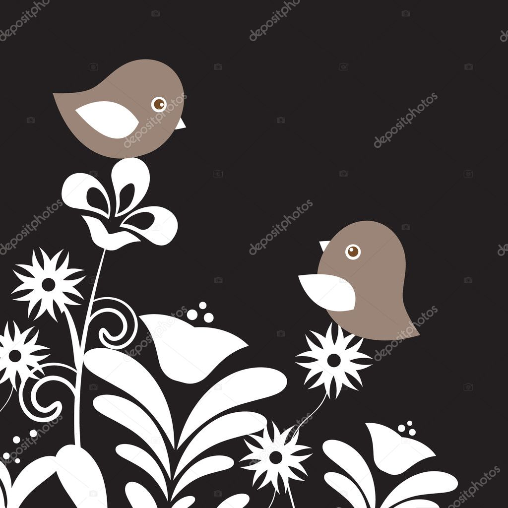 Two cute birds on the tree branches — Imagen vectorial #8633840