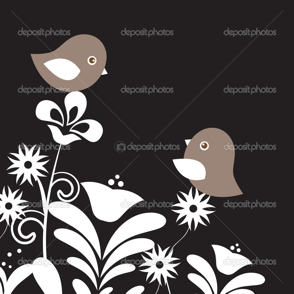 Two cute birds on the tree branches — Imagens vectoriais em stock #8633840
