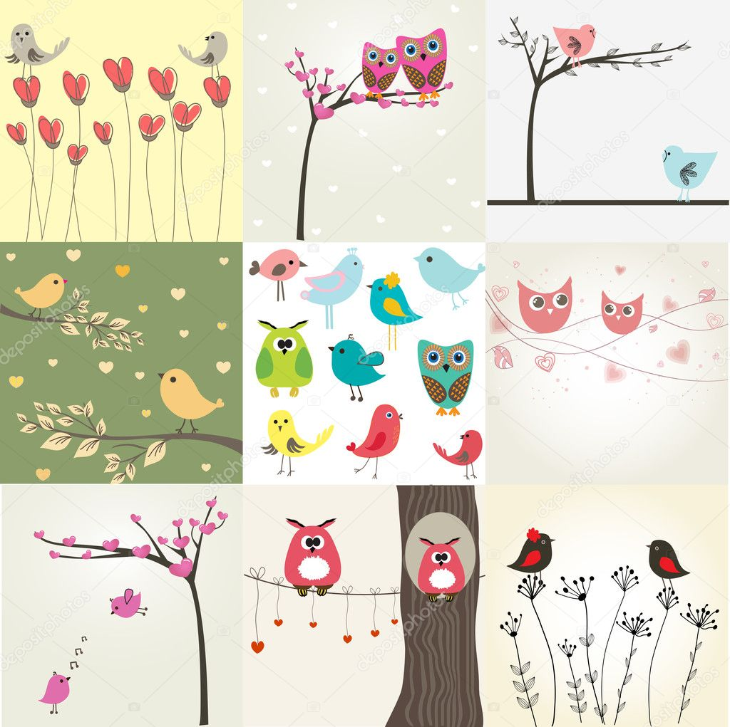 Set of 9 valentines cards with cute birds  — Stok Vektör #8633857