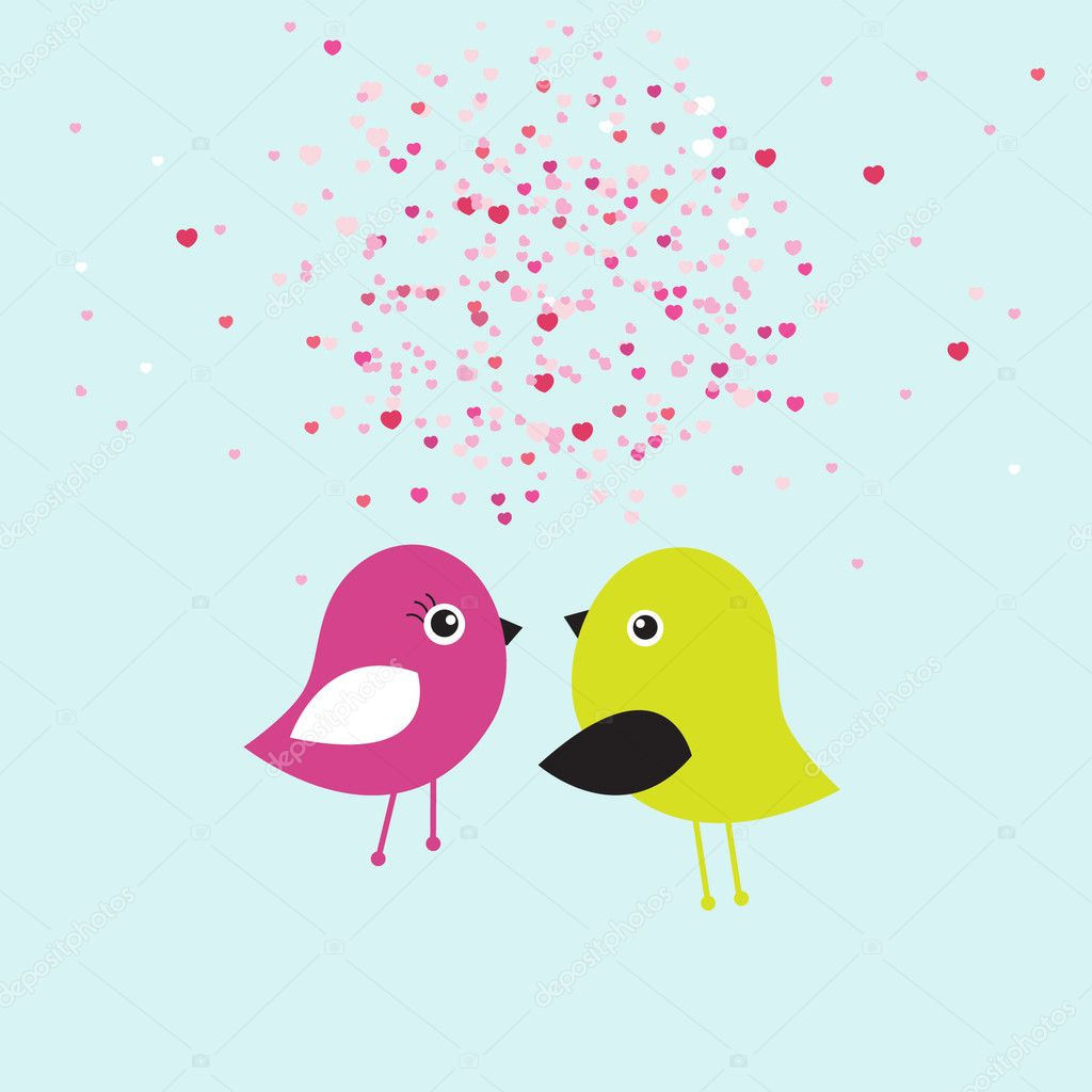 Two cute birds on the tree branches — Imagen vectorial #8633898