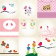 Set two cute birds on the love date. Cute valentine`s card with birds — Imagen vectorial