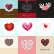 Set Valentines cards with hearts and place for your text. — Stock vektor