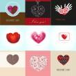 Sevgililer Metin için kalpleri ve yer kartları ayarlayın — Stok Vektör