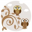 Cute owls couple on the tree — Stock Vector