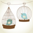Vintage card with two cute birds in retro cages — Vecteur #8686258