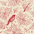 Vintage seamless background with bird and flowers — ベクター素材ストック
