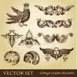 Vector set of vintage design elements and whimsical animals or peoples — Stock Vector