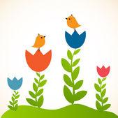 две милые птицы на дату любовь. милая валентина открытка с птицами — Cтоковый вектор