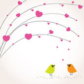 Two cute birds on the love date. Cute valentine`s card with birds — Vettoriale Stock