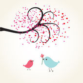 Two cute birds on the love date. Cute valentine`s card with birds — Stock Vector