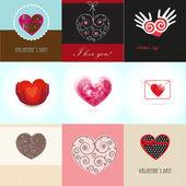 Impostare valentines carte con cuori e luogo per il vostro testo. — Vettoriale Stock