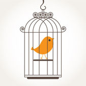 Vintage card with bird in retro cages — Stockvector
