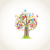 Beauty spring tree with butterflies and multicolored leaves — Stock Vector