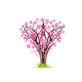 Cherry tree. Spring vector card — Stock Vector