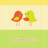 Easter card with two birds — Stock Vector