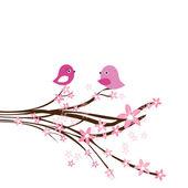 Due uccelli svegli alla data di amore. Carta carino San Valentino con gli uccelli — Vettoriale Stock