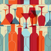 Seamless background with wine bottles and glasses — Vector de stock