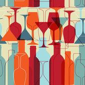 Sömlös bakgrund med vinflaskor och glasögon — Stockvektor
