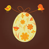 Easter card with two birds and egg — Stock Vector