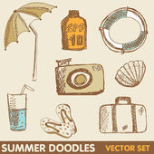 Summer holiday doodle collection — Stock Vector