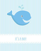 Baby boy birthday card with blue whale — Stock Vector