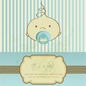 Ročník baby boy příjezdu oznámení karta. — Stock vektor