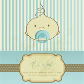 Vintage baby boy arrival announcement card. — Stock Vector