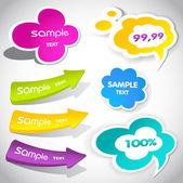 Colorful vector stickers for your text — Stock Vector