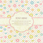 Ilustración de vector dibujado con flores y lugar para el texto de la mano. — Vector de stock