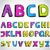 Grunge hand drawn alphabet. Vector. — Stock Vector